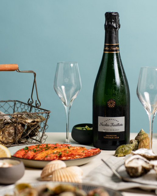 Nicolas Feuillatte Collection Vintage 2014 Blanc de Blancs - à table avec des fruits de mer